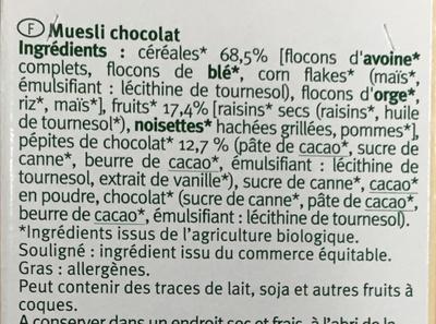 Muesli chocolat - Ingrediënten - fr