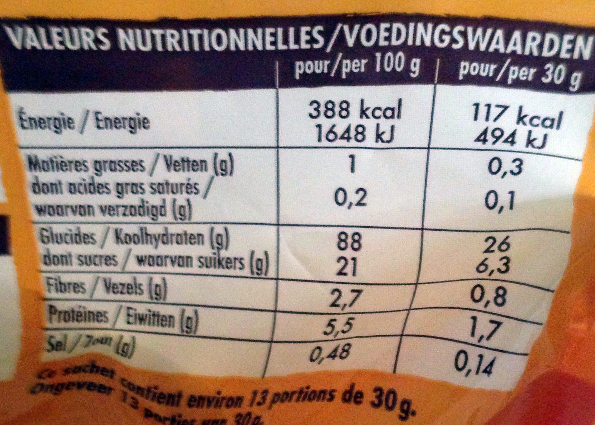 Crosti boules miel - Informations nutritionnelles