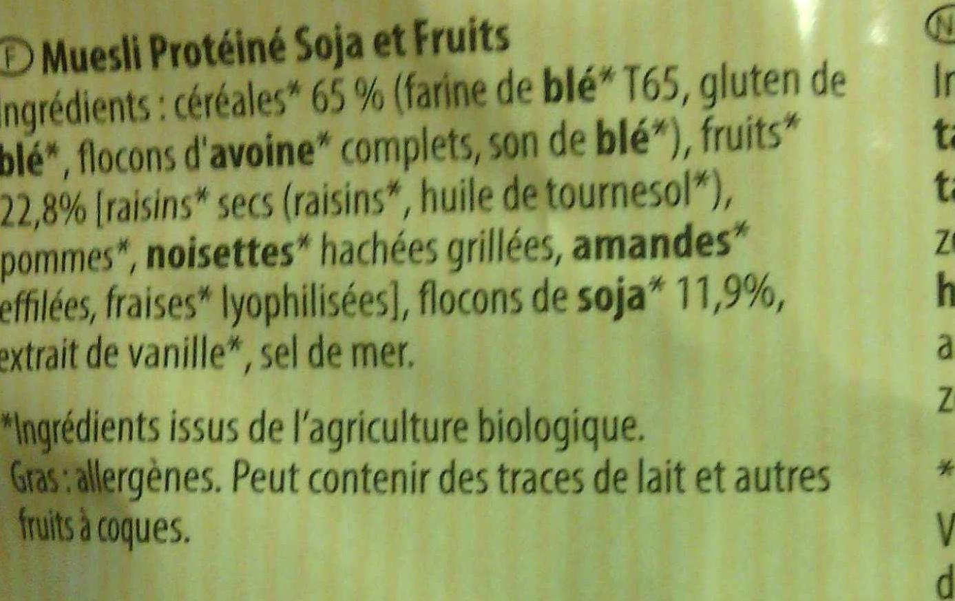 Joseph Favrichon Muesli Protéiné soja & fruits - Ingrediënten
