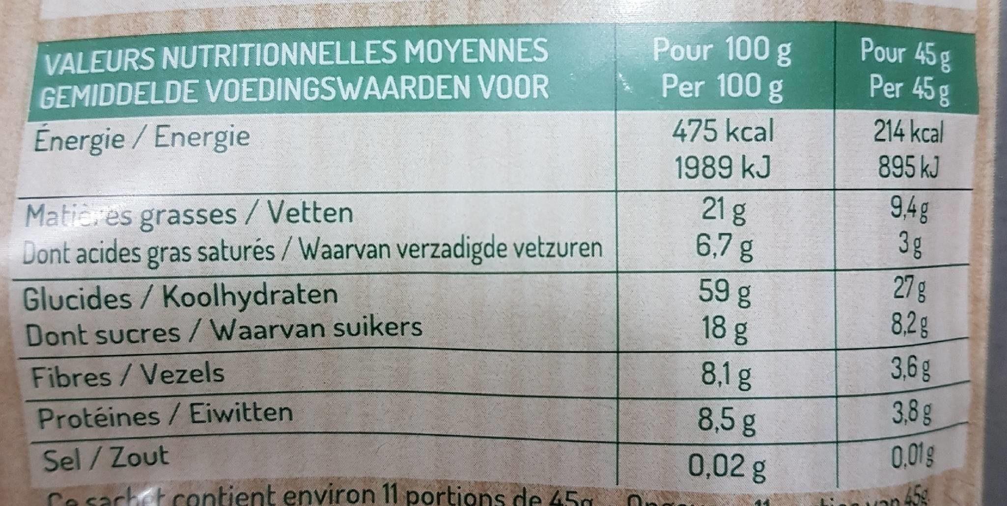 Muesli croustillant chocolat - Nutrition facts