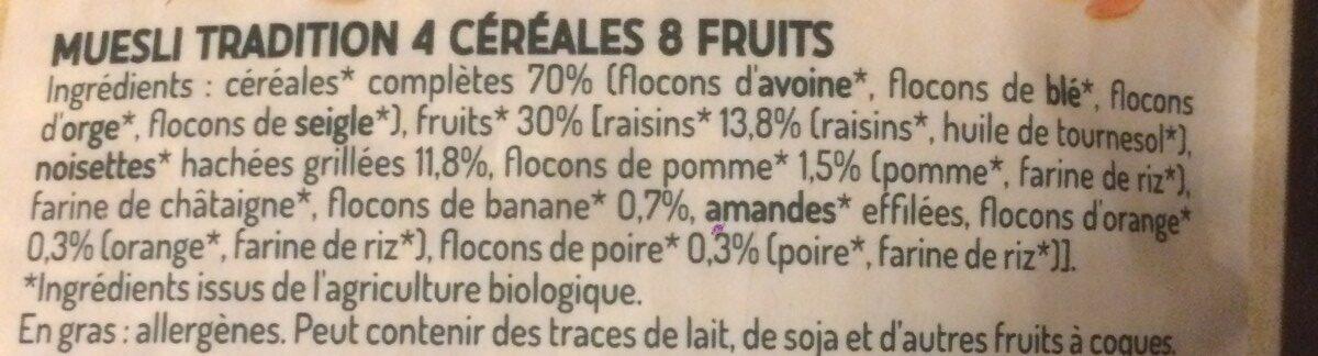 Muesli 4 céréales et 8 fruits - Ingrédients - fr