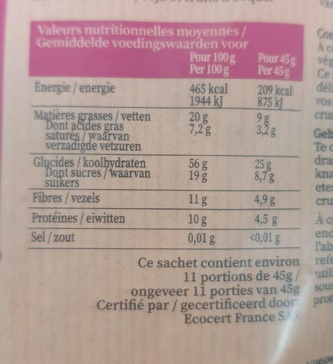 muesli croustillant framboise & chocolat - 营养成分 - fr