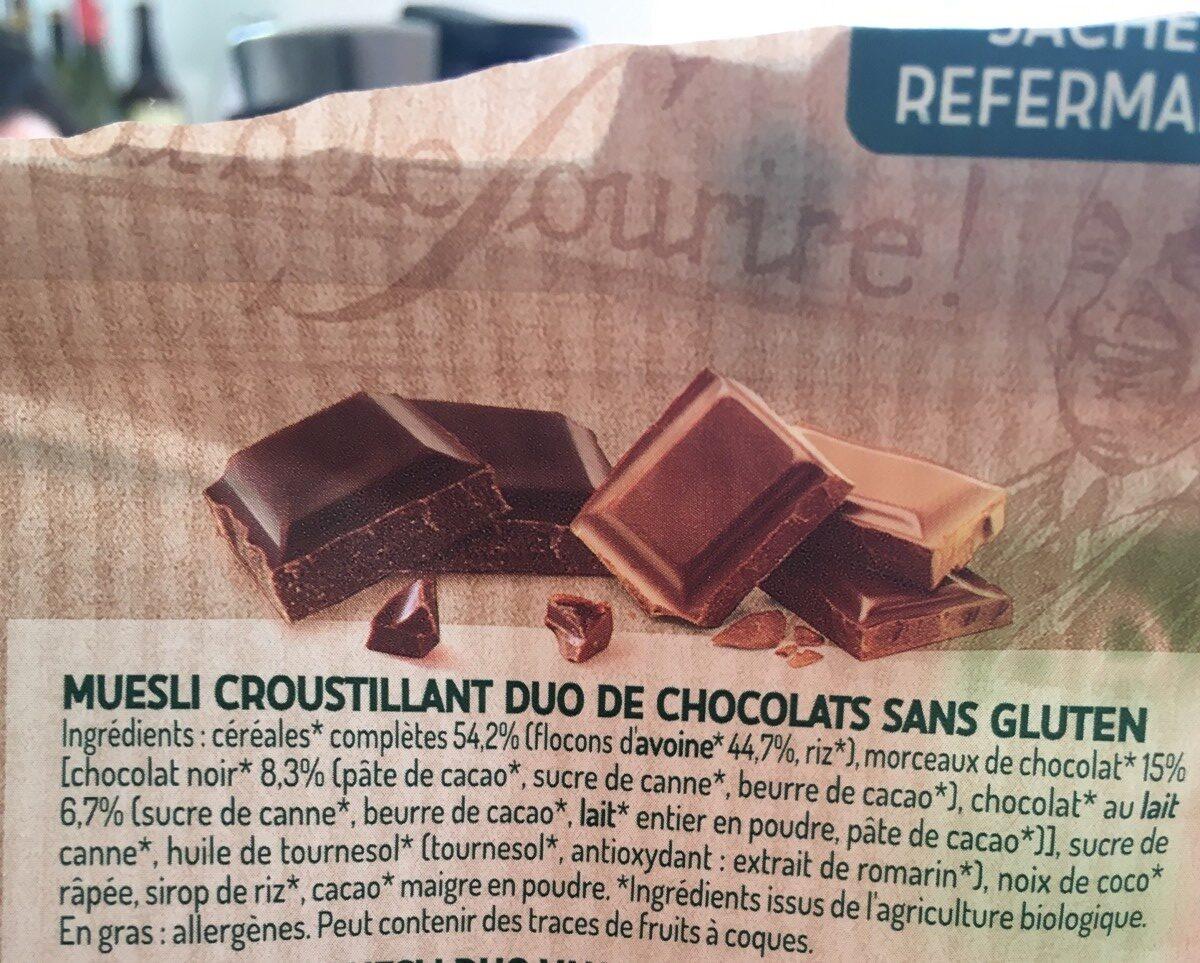 Muesli croustillant - duo de chocolats - Ingredienti - fr