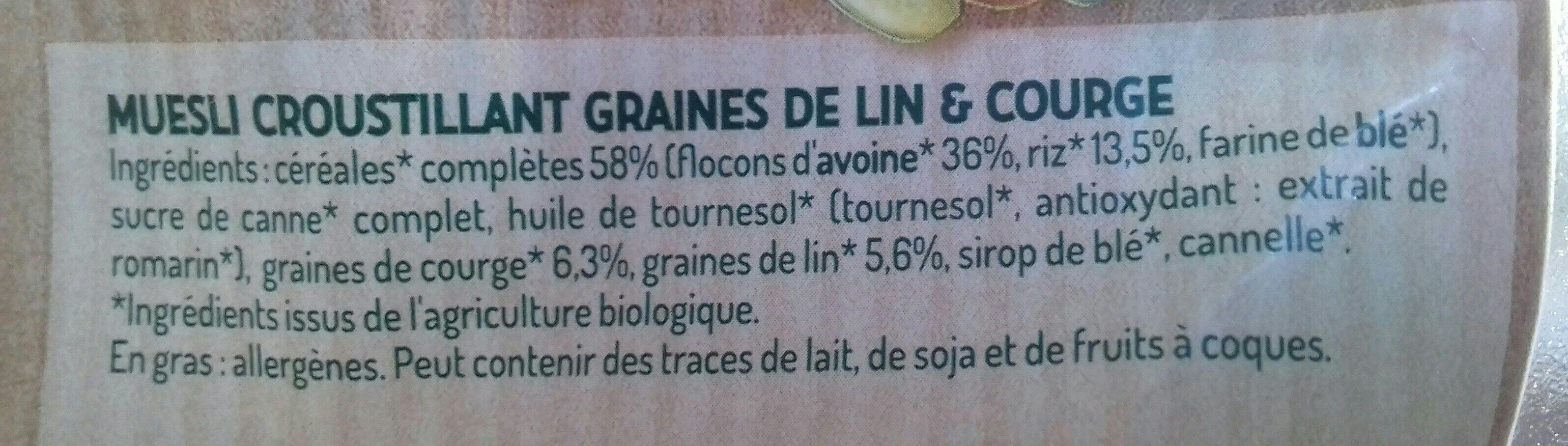 Muesli croustillant  graines de lin et courge - Ingrediënten