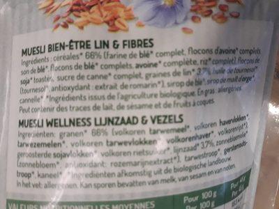 Muesli Bien-être Lin & Fibres - Ingredients