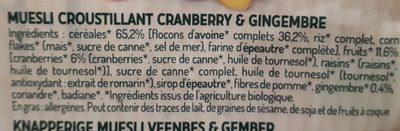 Muesli cranberry & gingembre - Ingrediënten - fr