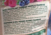 Cranberry myrtille et framboise - Ingredientes - fr