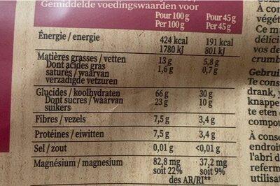 Cranberry myrtille et framboise - Información nutricional - fr