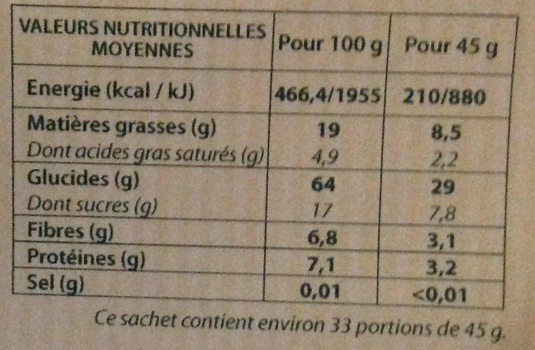 Muesli Croustillant Nature avoine et riz - Informations nutritionnelles - fr