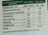 Riz soufflé au chocolat sans gluten - Nutrition facts