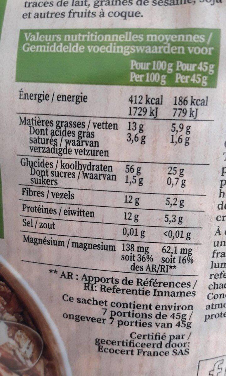 Naturellement équilibré Noix Muesli - Nutrition facts - fr