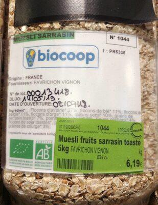 Muesli fruits sarrasin toaste - Ingrédients - fr