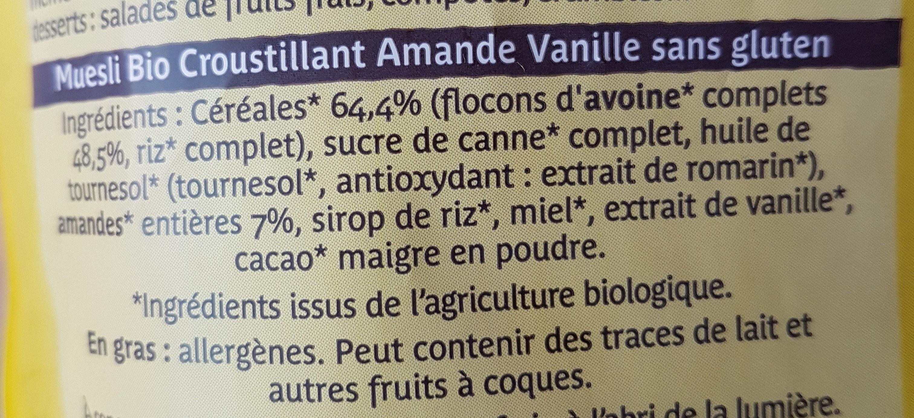 Muesli bio croustillant amande vanille - Ingrédients