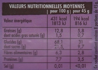 Muesli Bio Croustillant Superfruits : Cassis Myrtille Cranberry - Nutrition facts