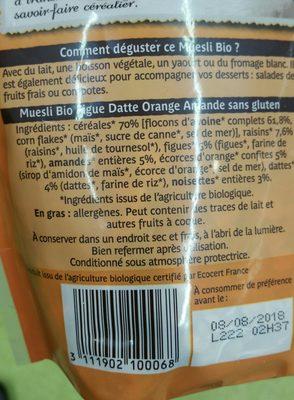 Muesli bio figue, datte, orange, amande - Ingredients - fr