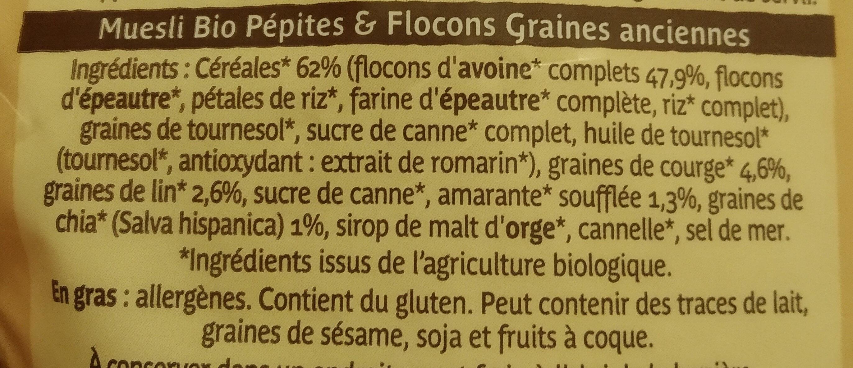 Muesli bio pepites & flocons graines anciennes - Ingredients - fr