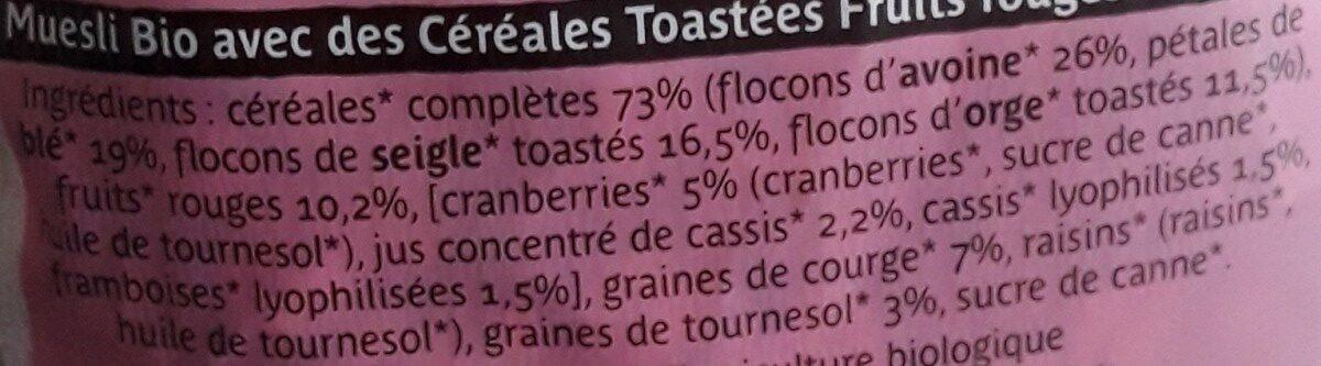 Muesli bio avec des céréales toastées fruits rouges et graines - Ingredients - fr