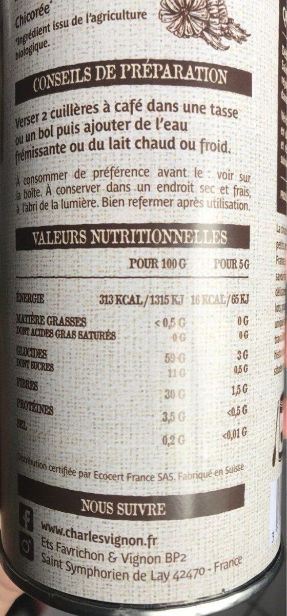 Chicorée bio - Nutrition facts - fr
