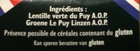 Lentille Verte du Puy AOC AOP - Ingrediënten