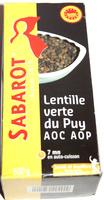 Lentille verte du Puy - AOC - AOP - 500 g - Sabarot - Product - fr