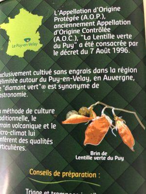 Lentille verte du Puy - Ingrédients