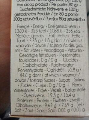 Sarrasin grillé - Informations nutritionnelles