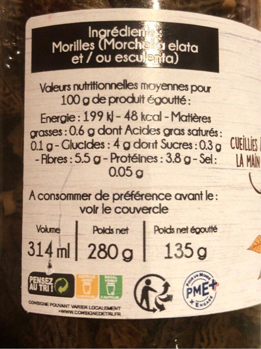 Morilles - Nutrition facts - fr