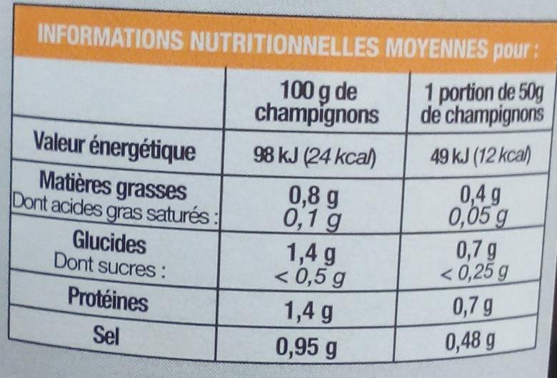 Trompettes - Informations nutritionnelles - fr