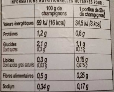 Foliotes - Informations nutritionnelles - fr