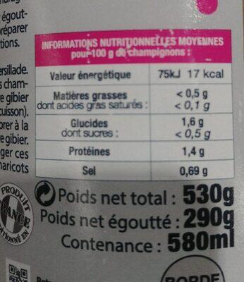 Champignon pour Gibier - Nutrition facts