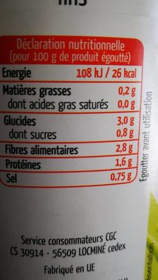 4 / 4 Haricots Verts Fins Maingourd* - Informations nutritionnelles - fr