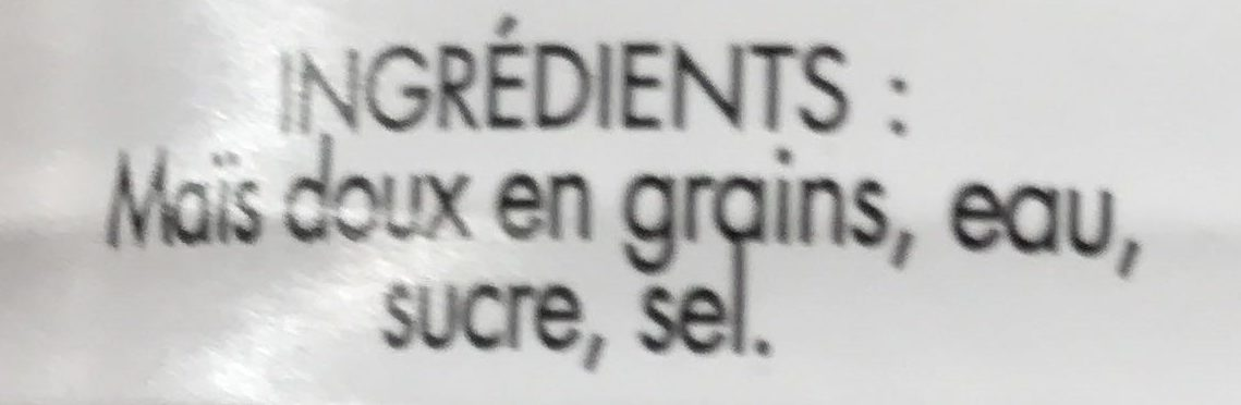 Maïs doux en grains sous vide - Ingredients