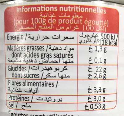 Maïs doux en grains sous vide - Nutrition facts