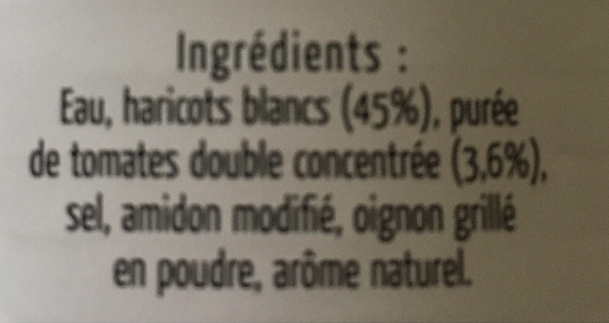 Haricots blanc à la tomate - Ingrédients - fr