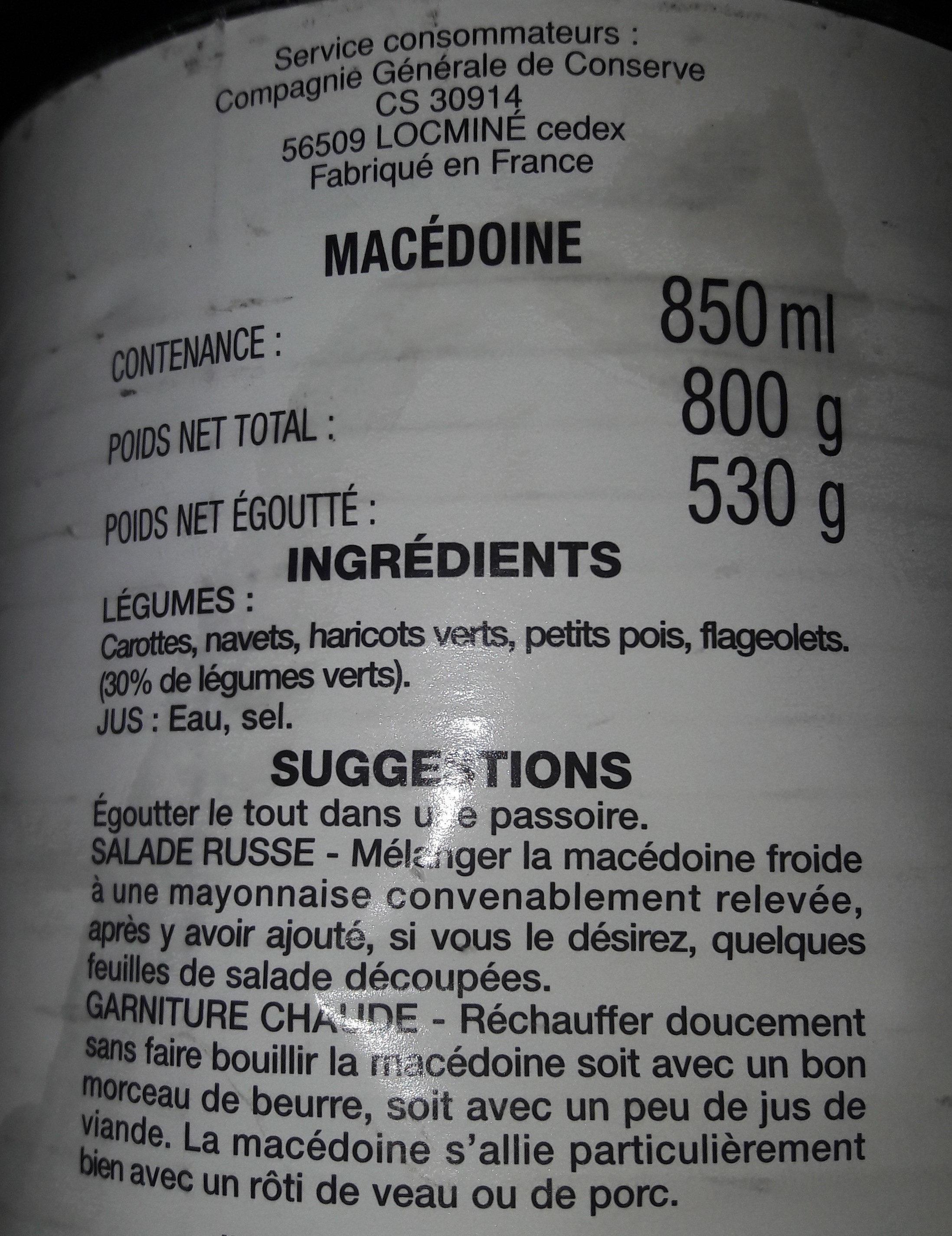 Macédoine - Ingredients