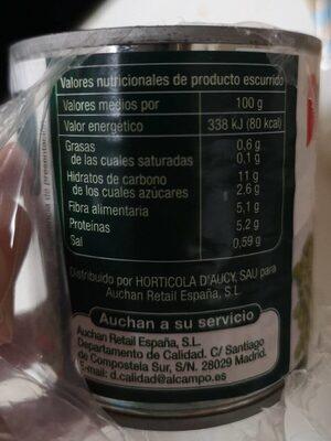 Guisantes extra finos al natural - Voedingswaarden