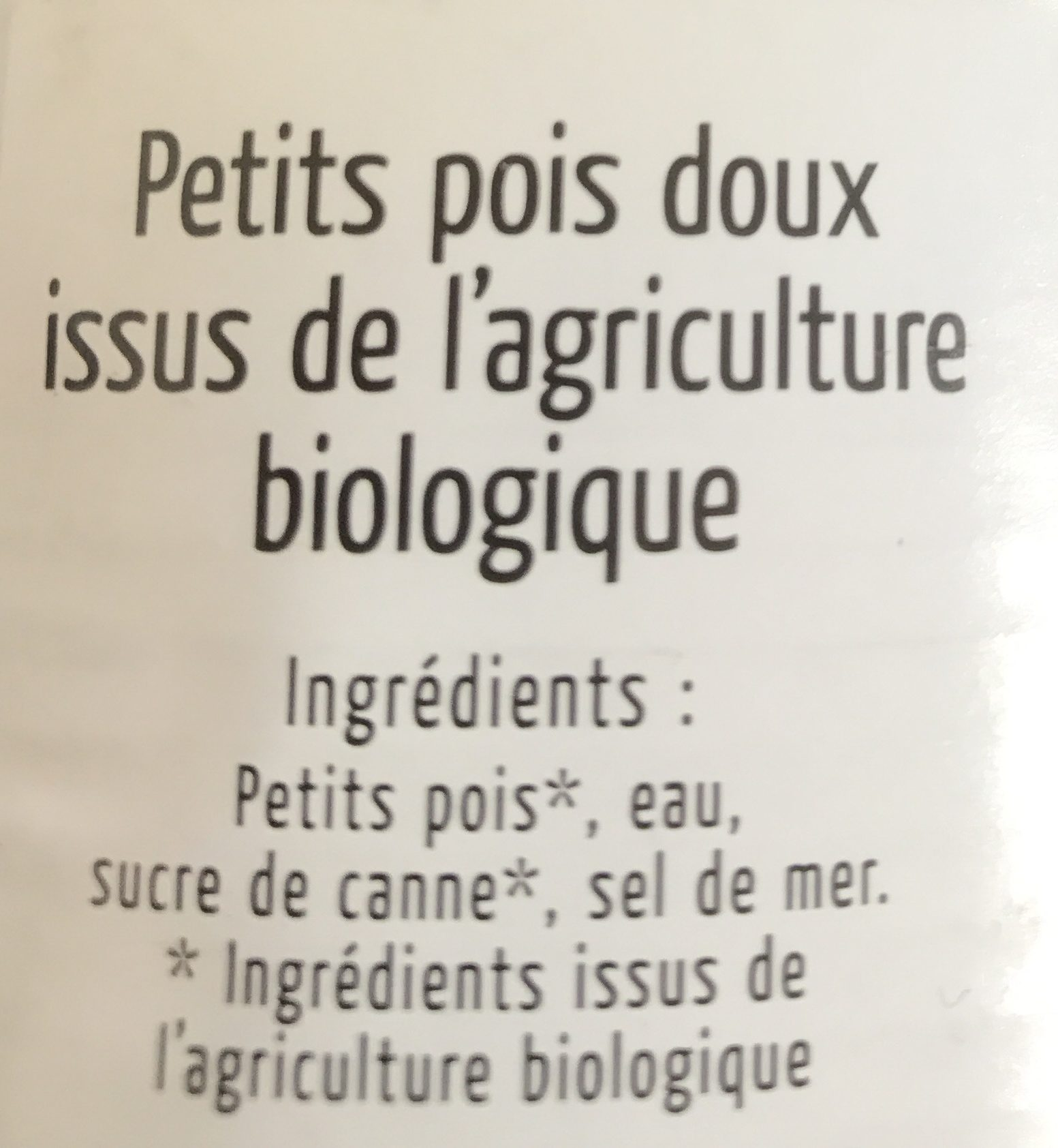 Petits pois bio - Ingrediënten