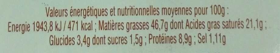 Foie gras de canard entier au piment d'Espelette - Informations nutritionnelles