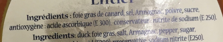 Foie Gras de Canard Entier - Ingrédients