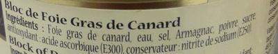 Bloc de foie gras de canard - Ingredients