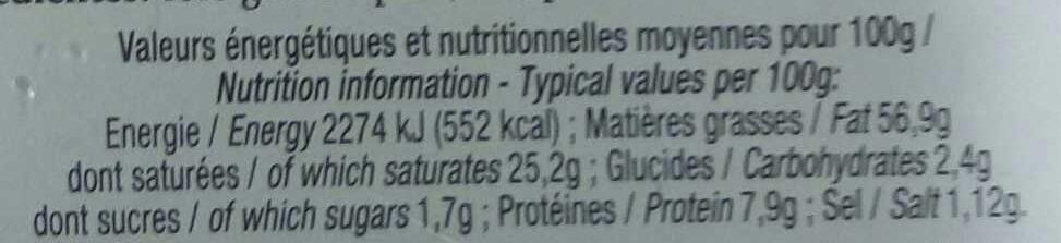Foie gras de canard entier à l'ancienne - Informations nutritionnelles