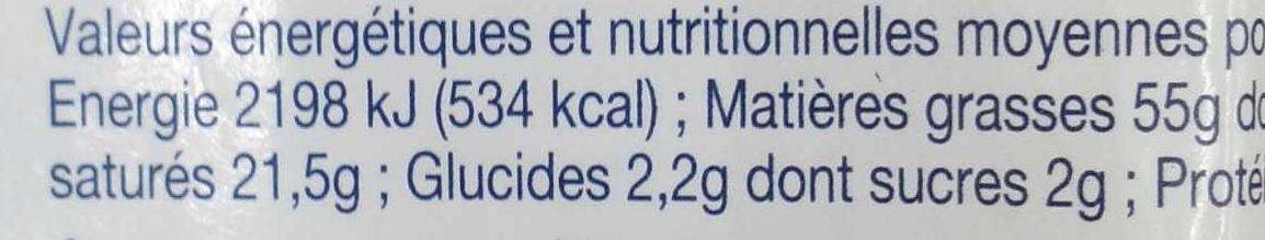 Foie gras de canard entier du Sud-Ouest mi-cuit - Nutrition facts