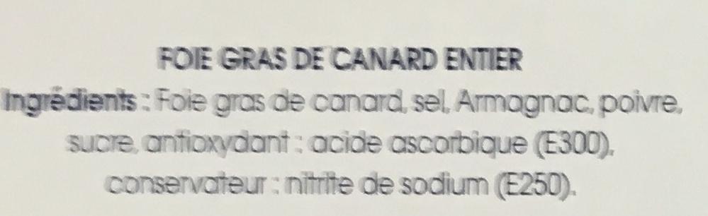 Le Foie Gras de Canard entier mi-cuit - Ingredients