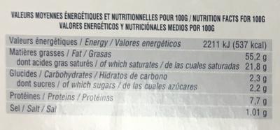 Le Foie Gras de Canard entier mi-cuit - Nutrition facts