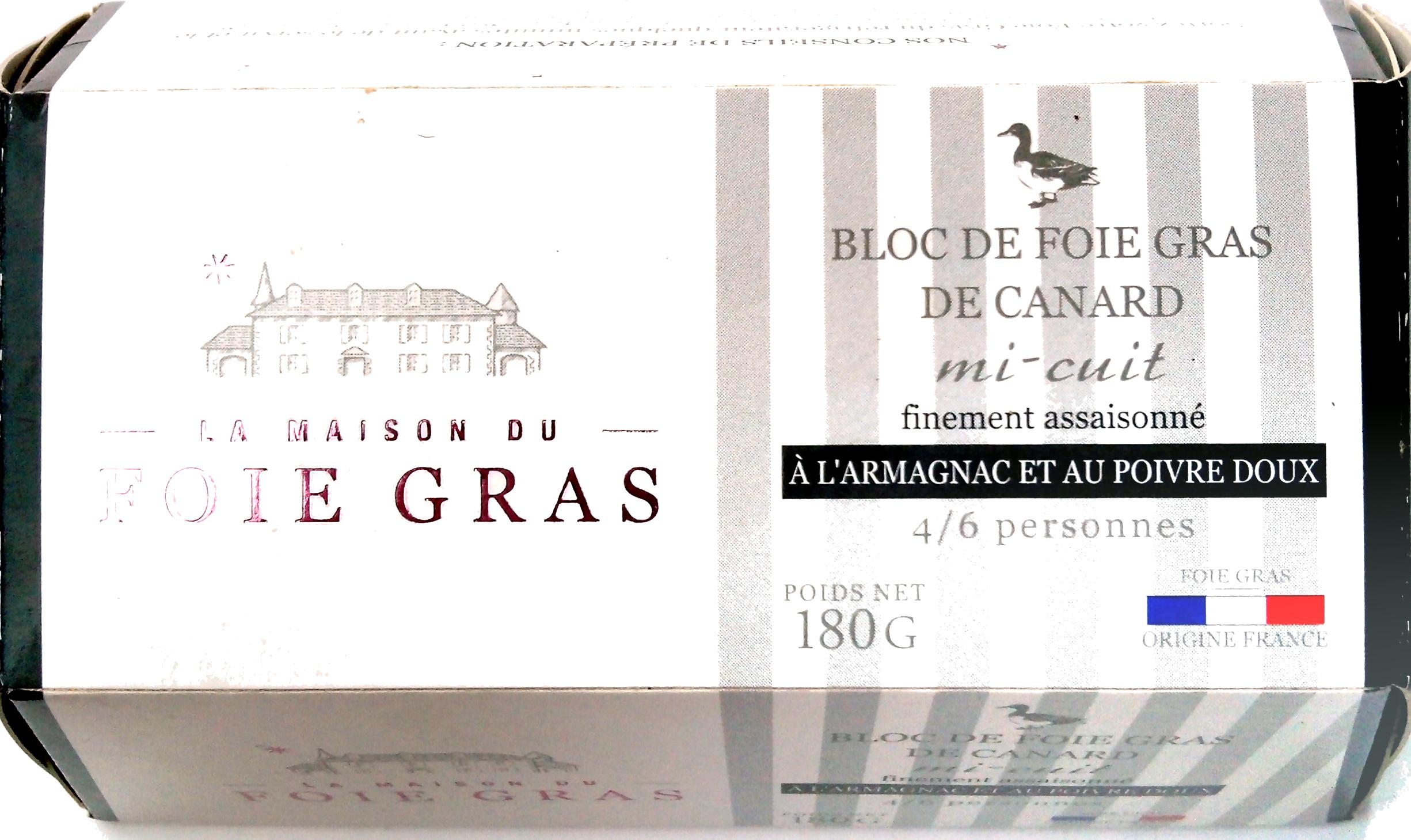 Bloc de foie gras de canard l 39 armagnac et au poivre doux for A la maison lotion