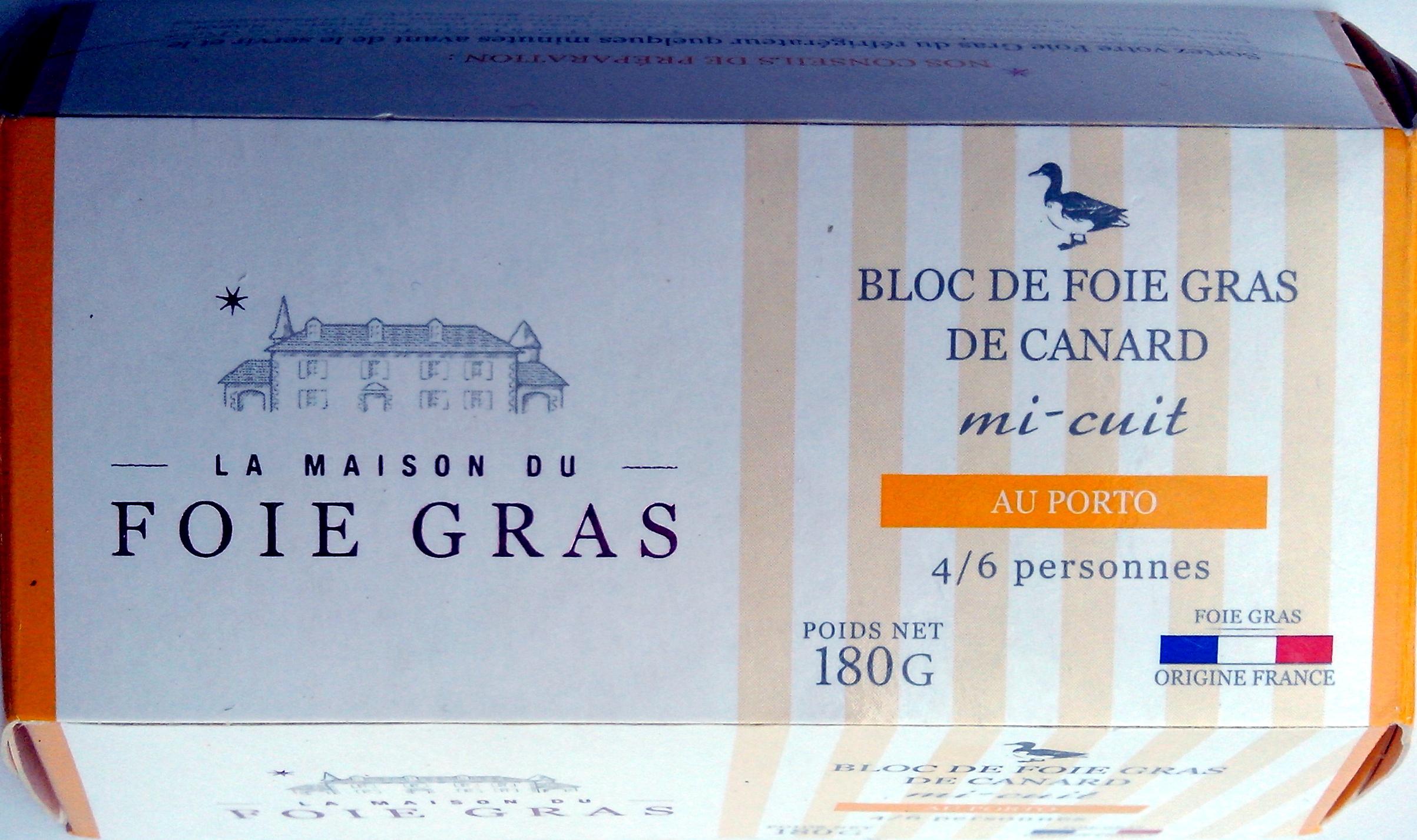 bloc de foie gras de canard au porto la maison du foie gras 180 g. Black Bedroom Furniture Sets. Home Design Ideas