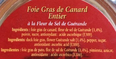 Foie Gras de canard entier - Ingredients