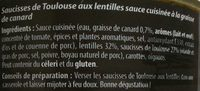 Saucisses de Toulouse aux lentilles sauce cuisinée à la graisse de canard - Ingrédients