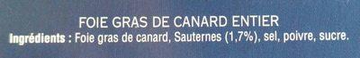 Foie gras de canard entier mi-cuit - Ingredients