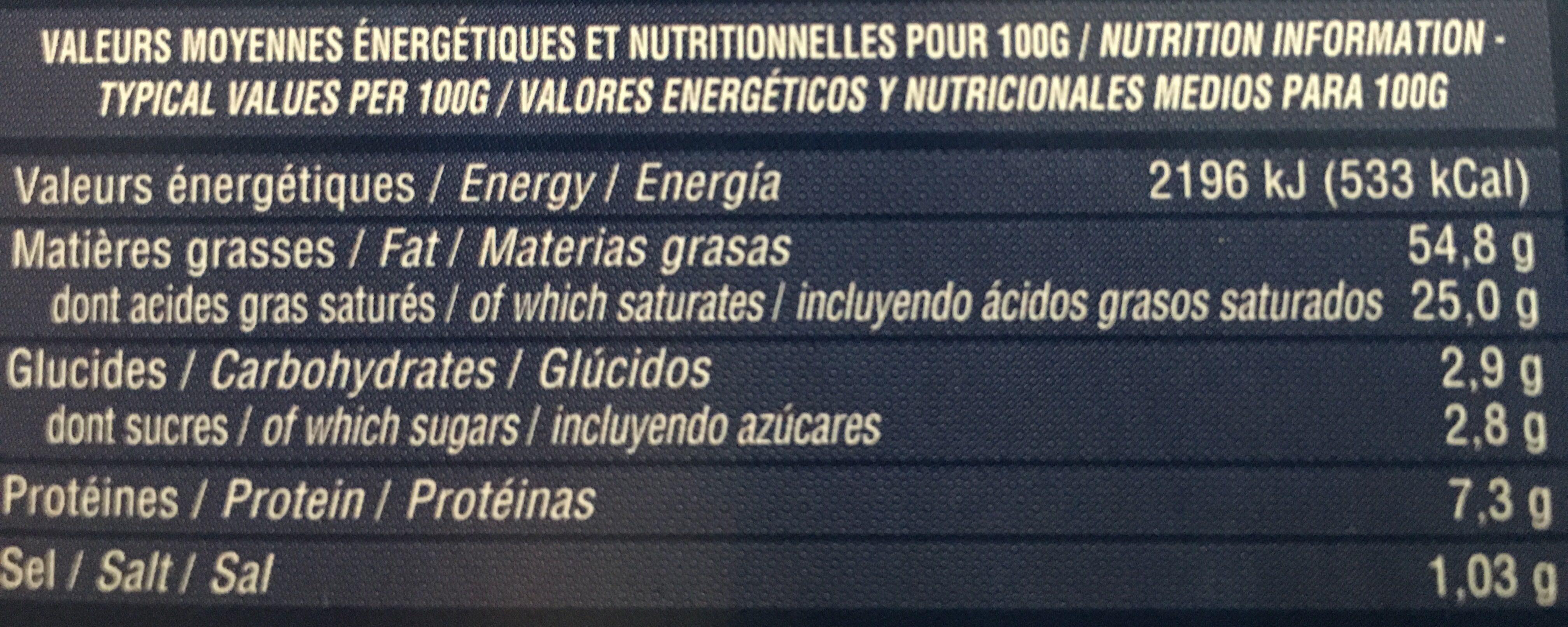 Foie Gras de Canard Entier - Voedingswaarden